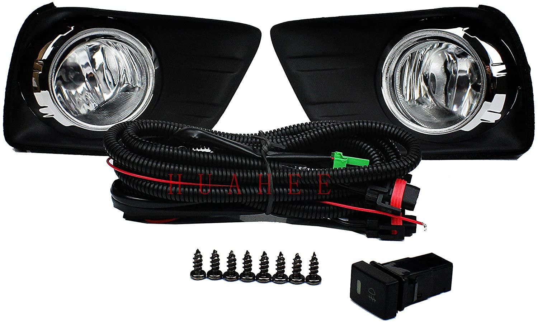 for Toyota Land Cruiser Prado FJ150 2010 2011 2012 2013 2014 Bumper Fog Light Kit Driving Lamps Full Set with Covers Bezel Driver & Passenger Side Switch Wiring