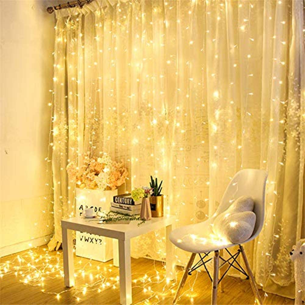 LED Curtain Light, Window Backdrop String Light, Icicle String Fairy Lights 300 LED Fairy Twinkle Lights with with Remote, Wall Decorations for Wedding Party Home Garden Bedroom, Warm White