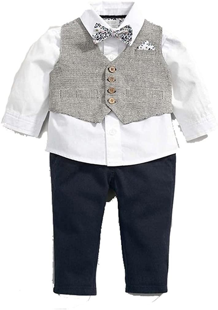 Baby Little Boys Formal Wear Tuxedo Suit Shirt Vest Pants Grey 18m -5t