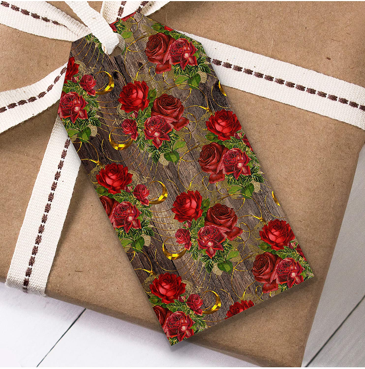 Dark Wood Red Rose Gold Christmas Gift Tags (Present Favor Labels)