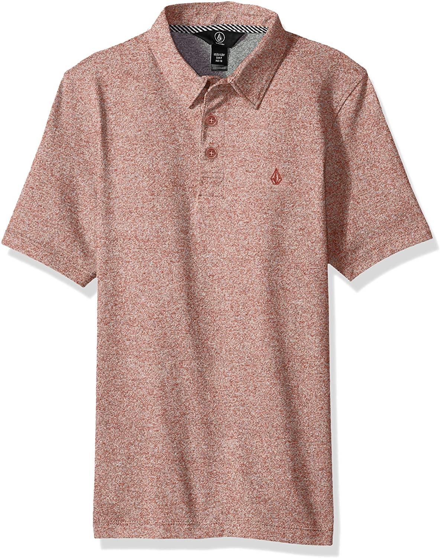 Volcom Wowzer Modern Fit Cotton Polo, Dark Clay, Big Boys