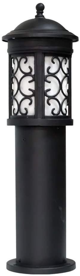 Pcqre Retro Aluminum Pc Lampshade Street Light Vintage Rustproof Decoration Column Lamp IP54 Outdoor Post Lamp Community Waterproof Post Light Villa Courtyard Lighting Path Lamp (Color : Black-b)