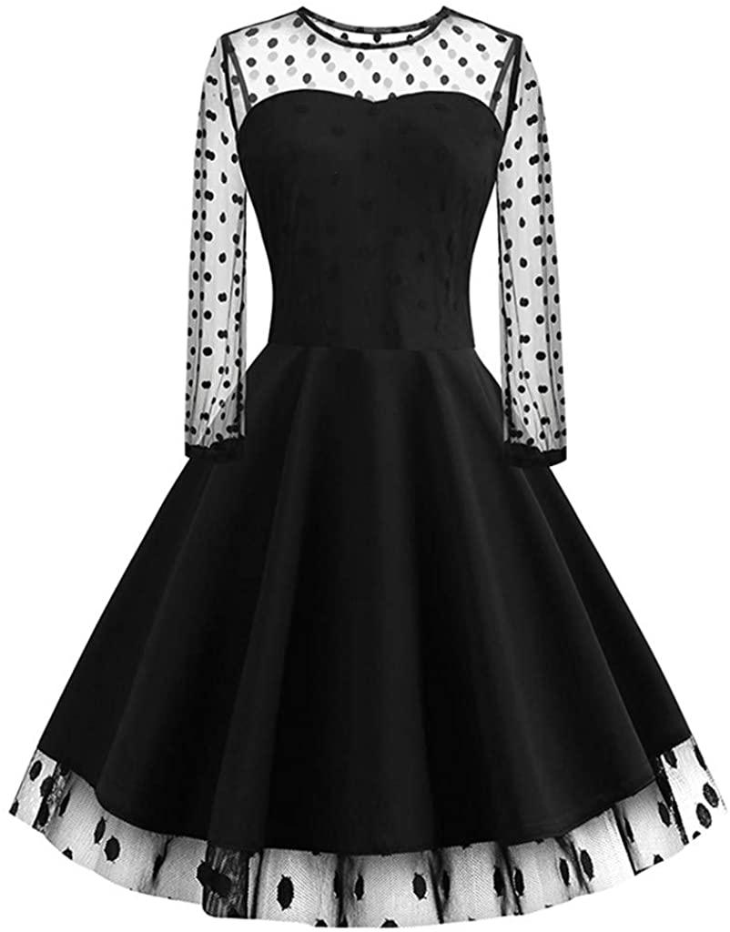 Ximandi Womens Ladies Mesh Perspective Long Sleeve Patchwork Polka Dot Print Swing Midi Dress