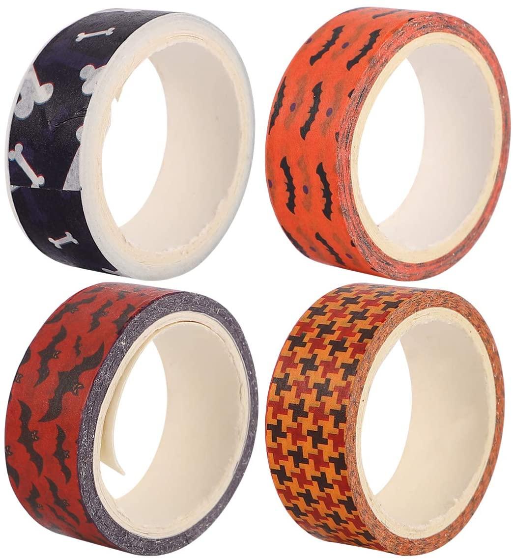 ULTECHNOVO 12 Rolls Halloween Washi Tape Set Scrapbook Tape Decorative Craft Tape for DIY Crafts Gift Wrapping Scrapbooking