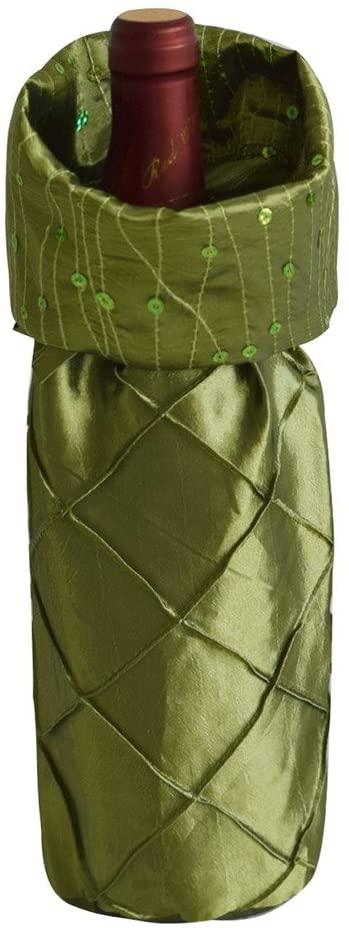 Gireshome Green Glitter&Pintuck Wine Bottle Cover Bag for Table Decorations Gift Bag Christmas Wine Bottle Bag Christmas Hostess Decoration Wine Bottle Cover Christmas Gift
