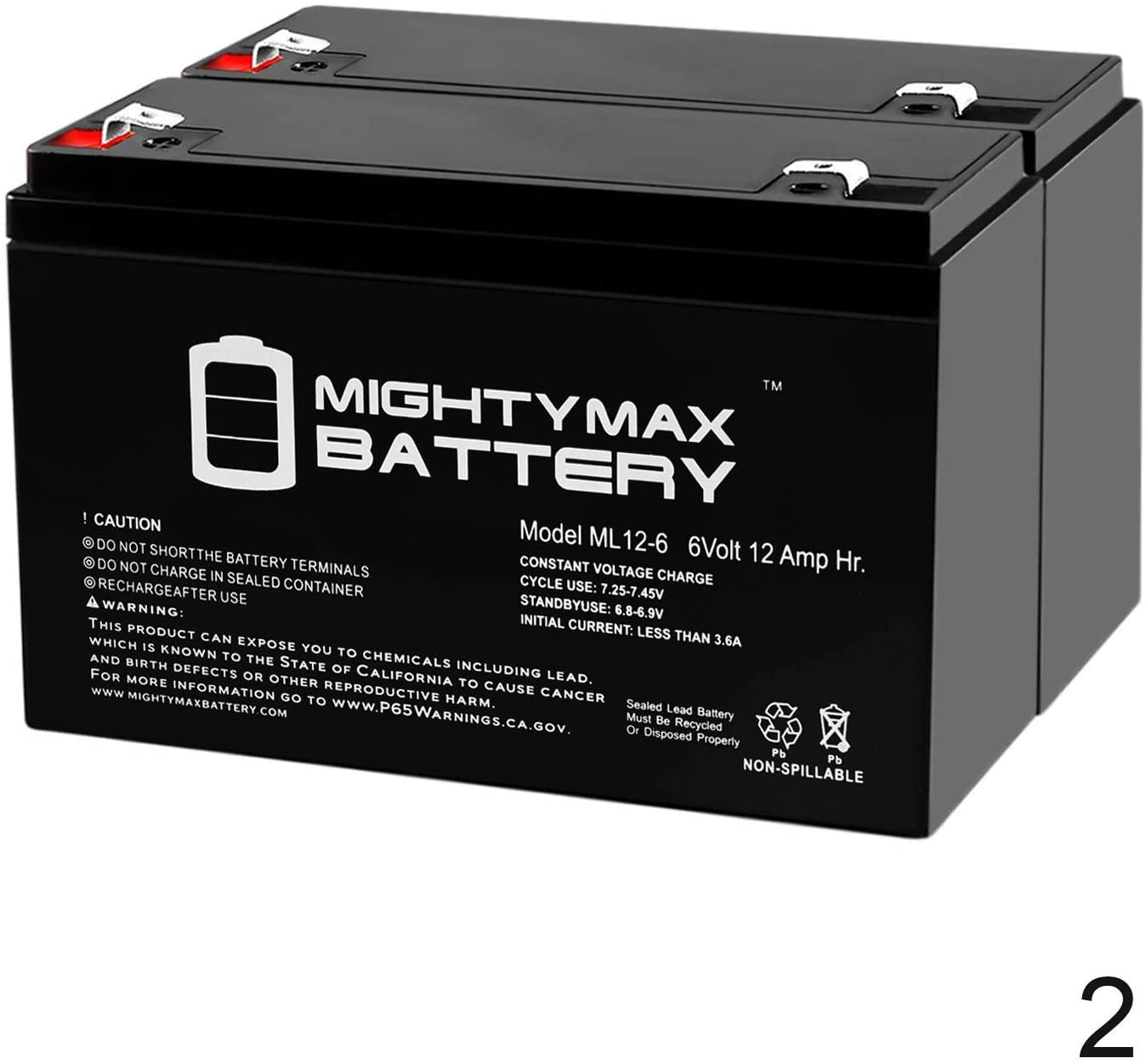 Mighty Max Battery 6V 12AH F2 Replacement Battery for Tripp Lite OMNISM1000USB - 2 Pack Brand Product