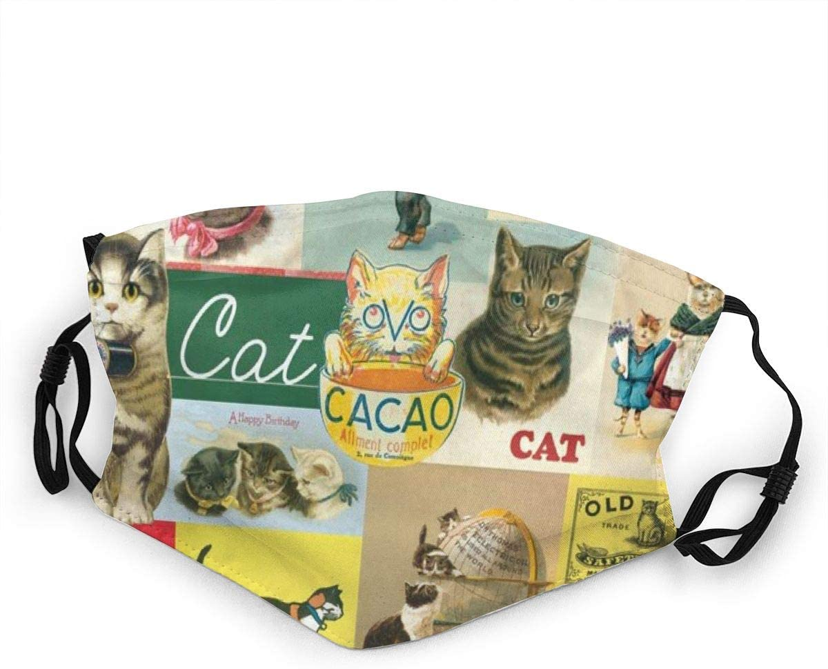 Kids Mouth Protection Vintage Cat Funny Cats Poster Children Adjustable Face Anti-Dust for Boys Girls