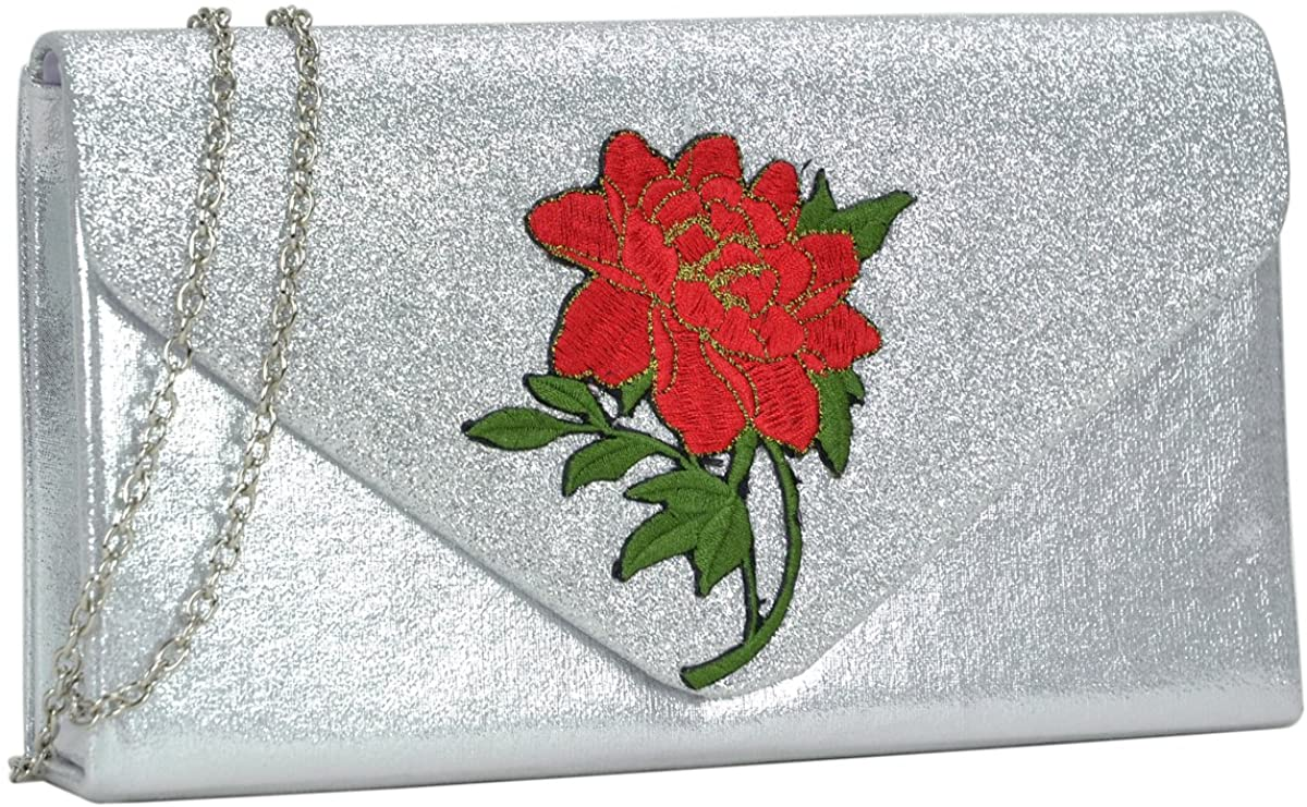 Dasein Evening Bags Clutch Purse Floral Shoulder Bags for Women Formal Wedding Party Prom with Long Strap