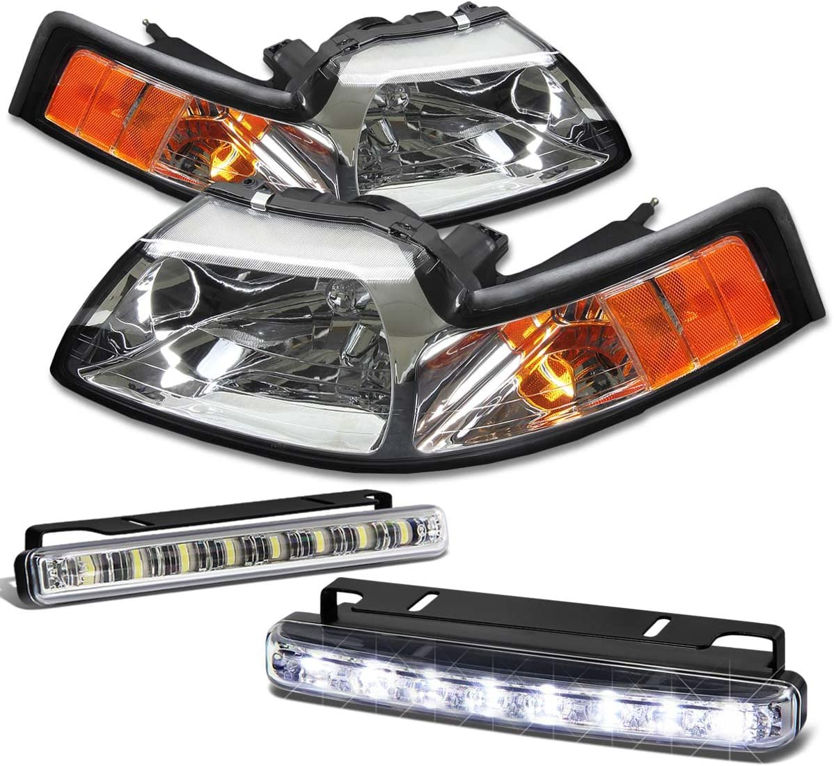 Replacement for Ford Mustang SN95 New Edge Chrome Housing Amber Corner Headlight+DRL 8 LED Fog Light