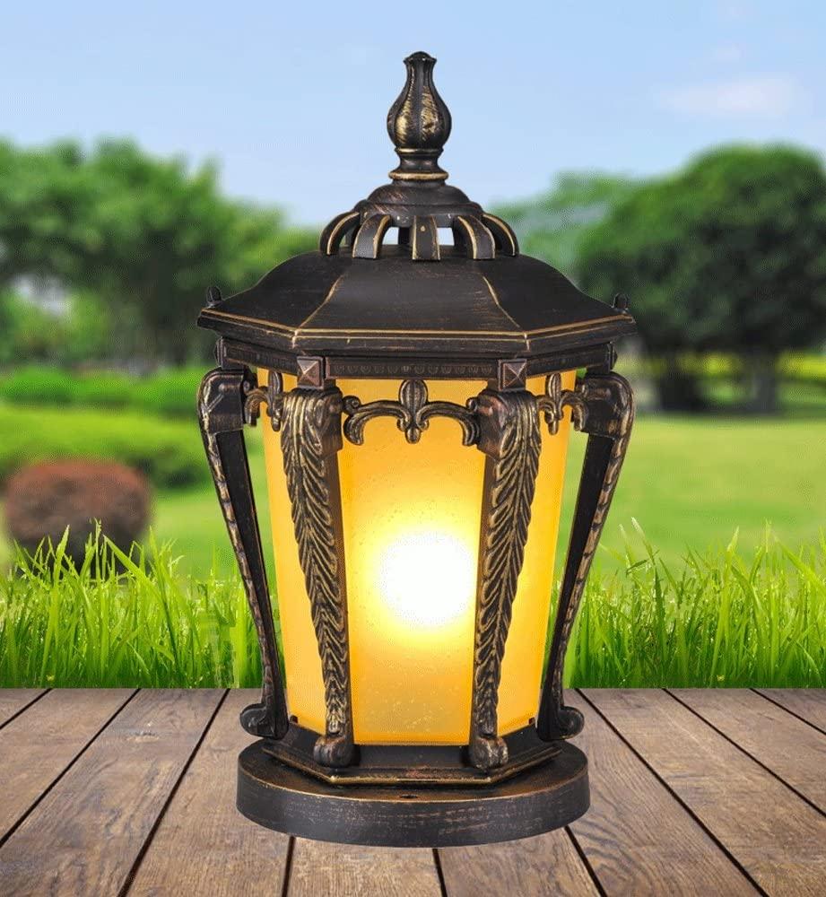 Vampsky European Lantern Pillar Column Light, Glass Outdoor Tradition Antique Aluminum Waterproof Street Post Light E27 Decoration External Villa Park Garden Light Lawn Table Lamp