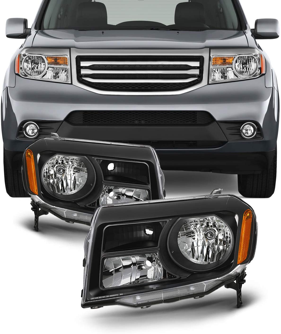 Fits 2012 2013 2014 2015 Honda Pilot [Halogen Type] Black Bezel Headlights Lamps Replacement
