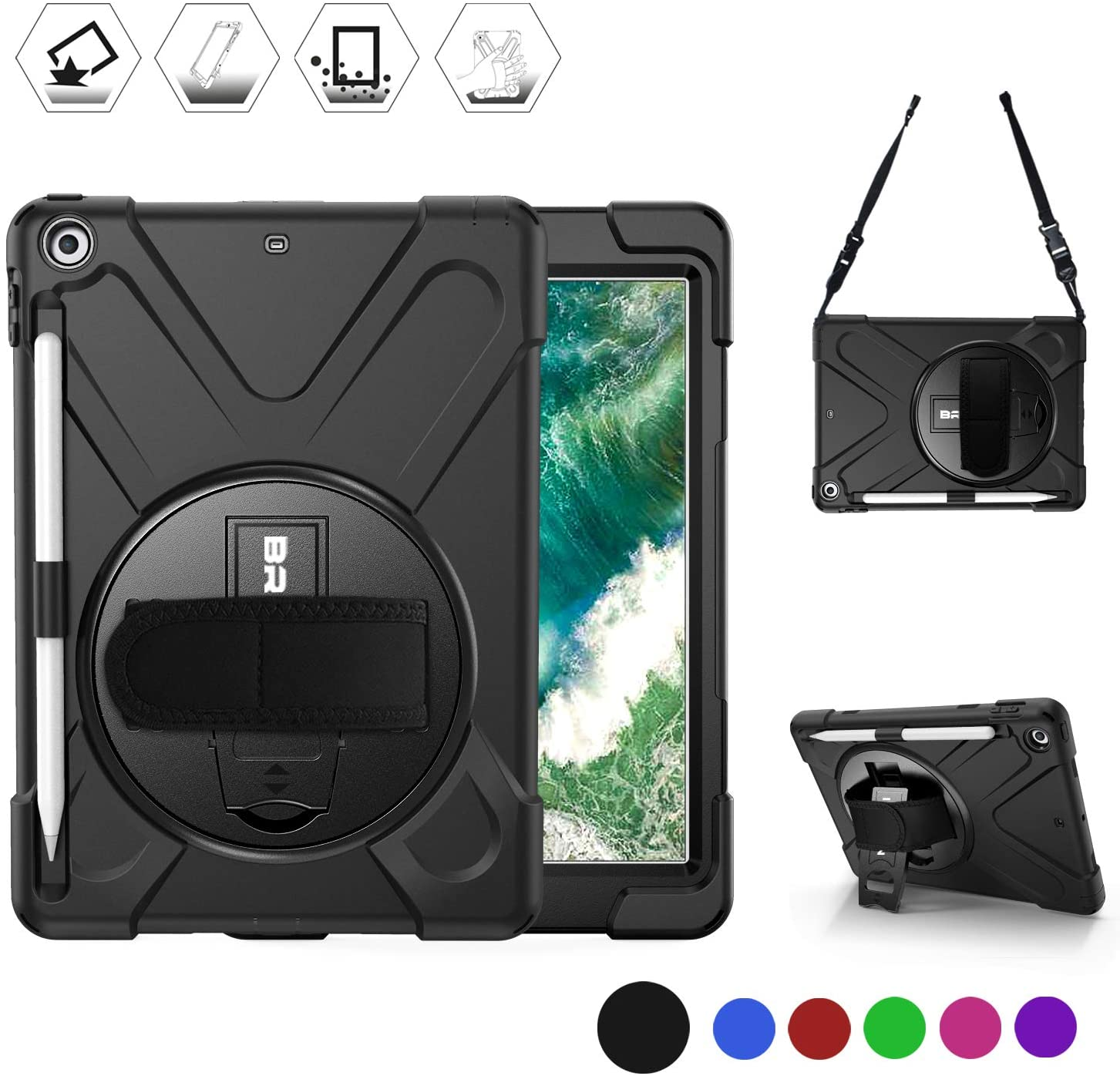 BRAECN iPad Case 6th/5th Generation,iPad 9.7 2018/2017 Case-Heavy Duty Shockproof Rugged Case with Pencil Holder,Shoulder Strap & Rotating Hand Strap/Stand for iPad Case A1893/A1954/A1822/A1823 -Black