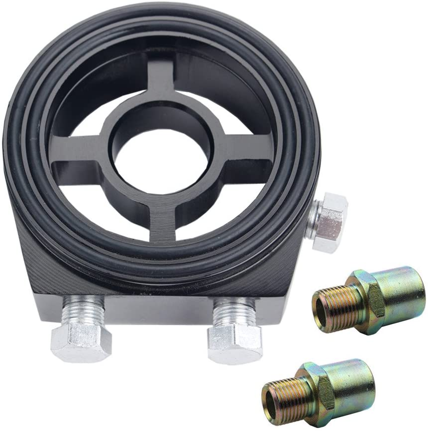 Dewhel Racing Sport JDM Aluminum Oil/Gauge Filter Sandwich Adapter Plate Kit (Black)