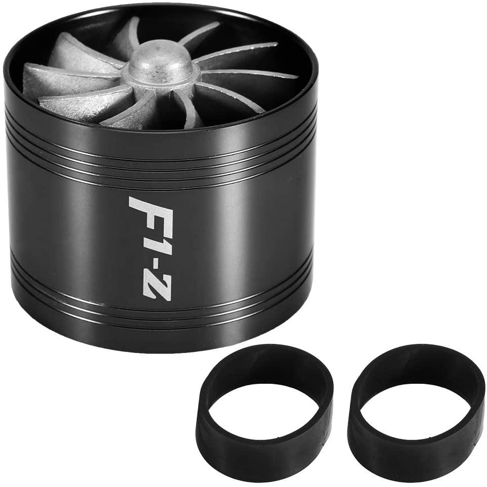 Air Intake Turbonator, Car Turbo Car Air Intake Turbonator Single Fan Turbine Super Charger Gas Fuel Saver Turbo 64mm Universal(Black)