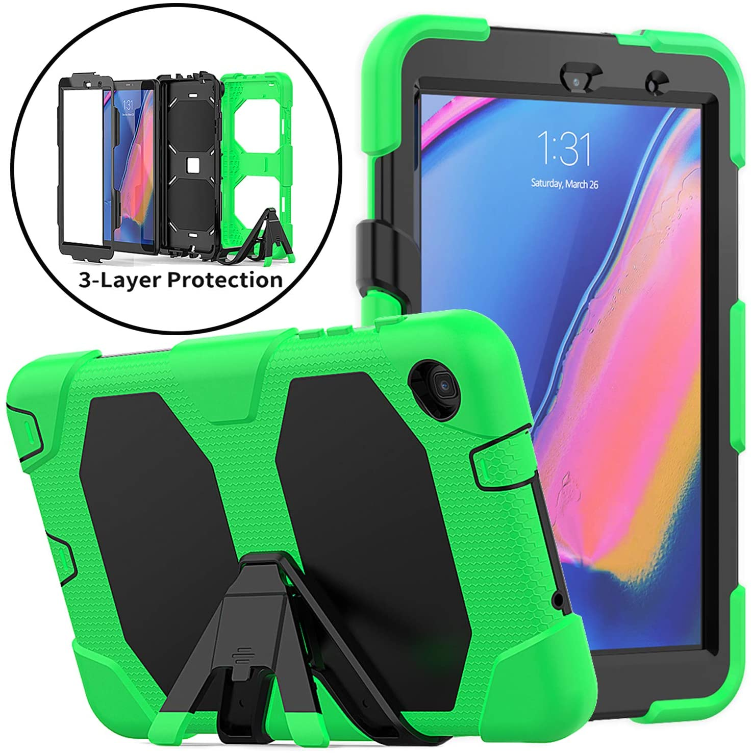 Neepanda Case for Galaxy Tab A with S Pen 8.0 2019, Full-Body Rugged Heavy Duty Case with Built-in Screen Protector for Samsung Galaxy Tab A with S Pen 8.0 Release Tablet SM-P200/P205, Green