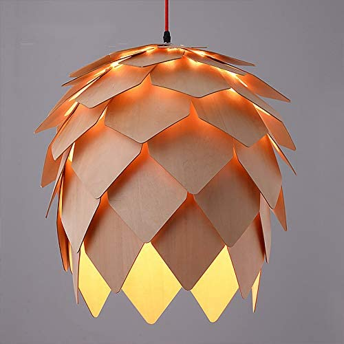 Modern Style Creative Pendant Light Fixture Hand Craft Wood Pine Cone Shape Hanging Pendant Lamp E26 for Bar Restaurant Light Living Room Dia 40cm 15.74Inch