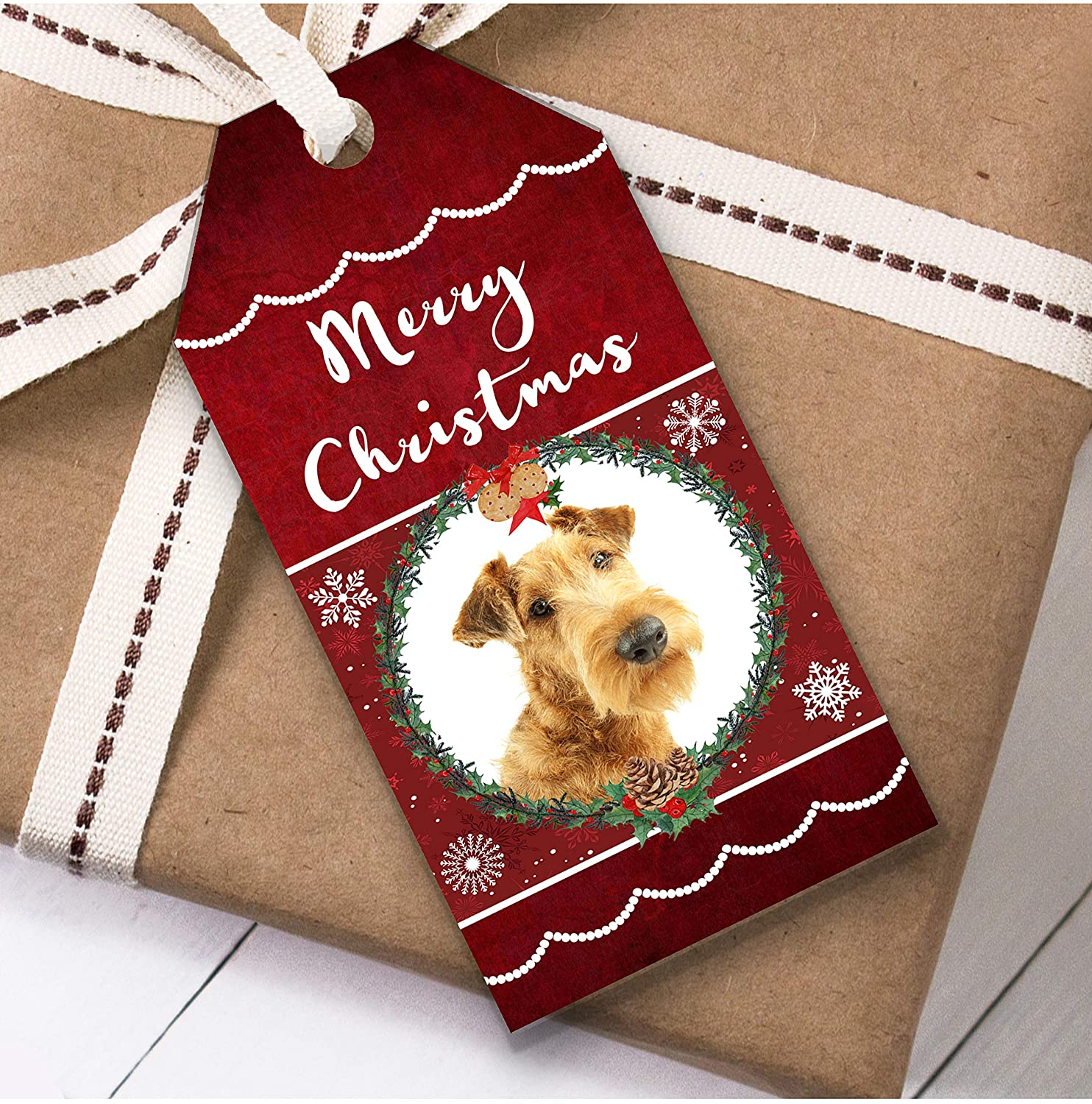Irish Terrier Dog Christmas Gift Tags (Present Favor Labels)