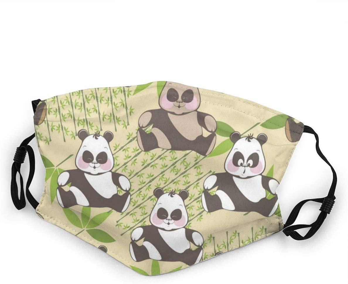 Kids Mouth Protection Funny Smile Panda Bamboo Children Adjustable Face Anti-Dust for Boys Girls