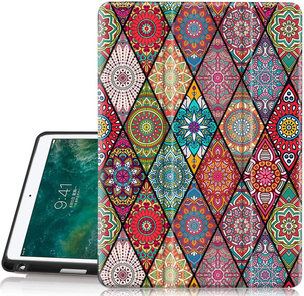 Hocase iPad Air 3rd Gen/iPad Pro 10.5 Case, Trifold Smart Case with Pencil Holder, Unique Pattern Design, Auto Sleep/Wake, Soft Back Cover for iPad A1701/A1709/A2152/A2123/A2153 - Mandala Flowers