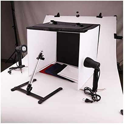 Tabletop Lightbox Portable Photo Studio with LED Lighting Table Top Folding Photography Shooting Tent Box Lighting Kit 40x40 cm with 4 Colors Backdrops for Photography