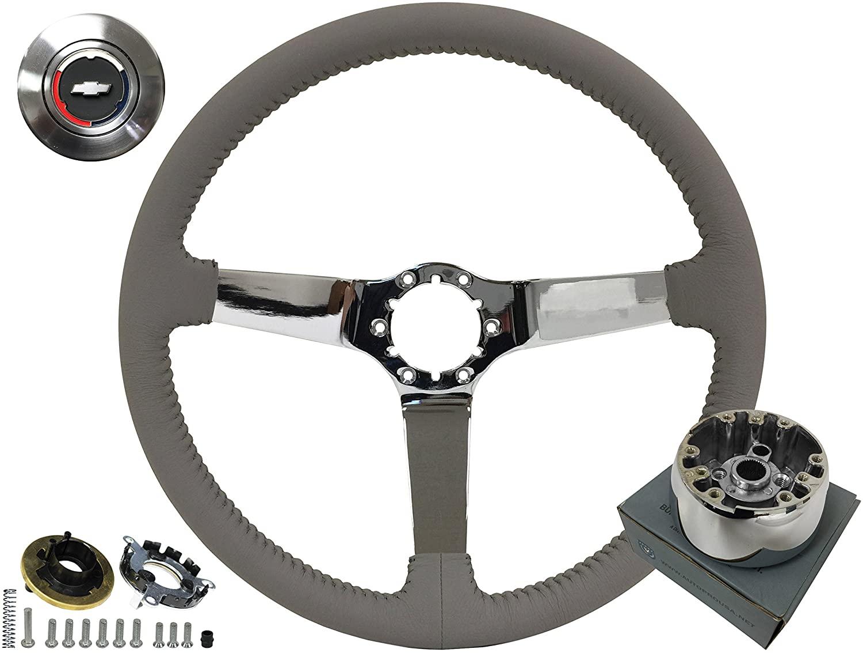 Volante Step Series Grey Leather Steering Wheel OE Style Chrome Kit compatible with 1967-68 Camaro El Camino Chevelle Nova