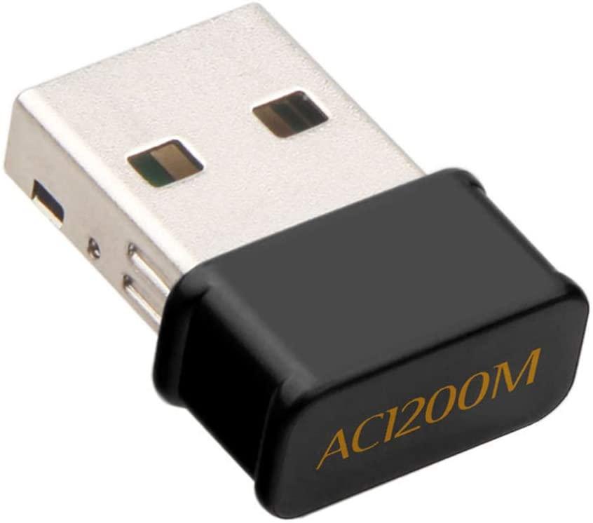 hudiemm0B USB Network Card, Mini 1200M Dual Band USB Wireless Network Card WiFi Receiver Adapter for Laptop