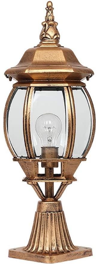 JIE KE Post Lights Clear Glass Column Lamp Bronze Pathway Lighting Luminaire Lamp Post Garden Rust Bronze Antique Driveway Bollard Light IP55 Rated Waterproof (Size : Height 55cm)