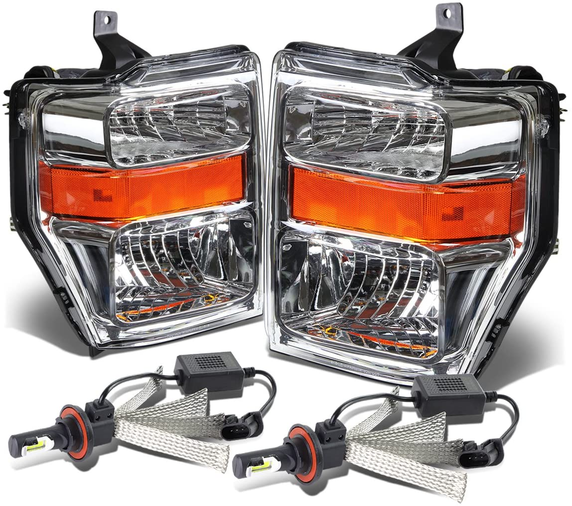 Replacement for Ford Super Duty 2nd Gen OE Style Chrome Housing Amber Corner Headlight + H13 LED Conversion Kit