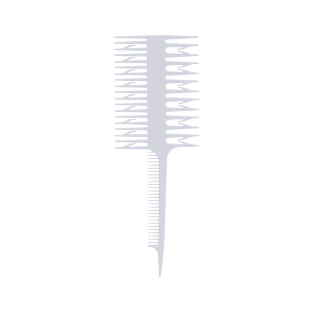 Professional Double-Sided Hair Highlighting Comb Hair Dyeing Device Piece StripWide Fine Teeth Comb Hairdressing Tool White