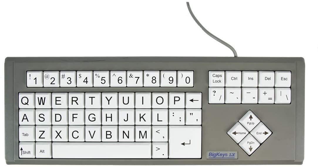 AbleNet BigKeys LX Keyboard USB Wired (White Keys with Keyboard Jumbo Oversized Print Letters) (BKLXWQ)