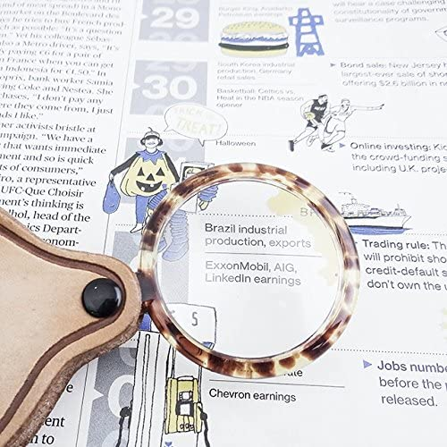 MagniPros 3X Pocket Magnifier with Authentic Leather Case and 3 Bonus Wallet Magnifying Lens - Ideal For Reading, Low Vision, Macular Degeneration