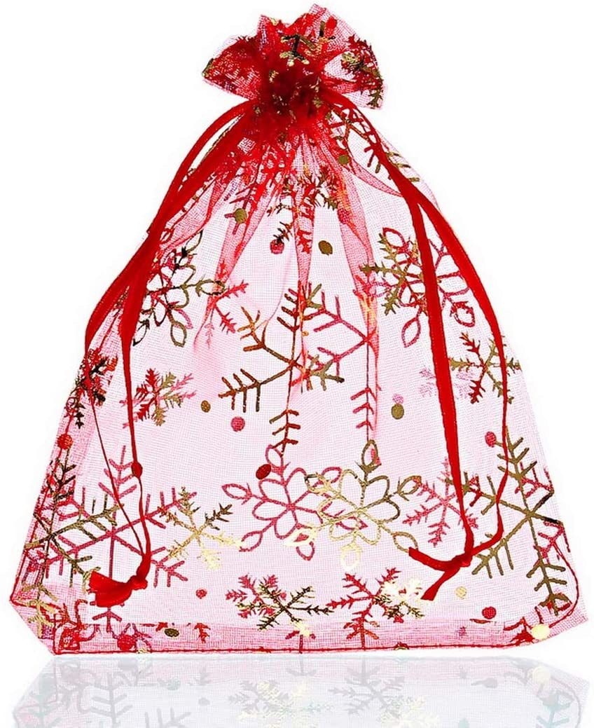 Tvoip 100Pcs Snowflake Organza Bags Party Wedding Decoration Jewelry Packaging Bags Drawstring Candy Gift Bag Pouches (4x6 (10x15cm))