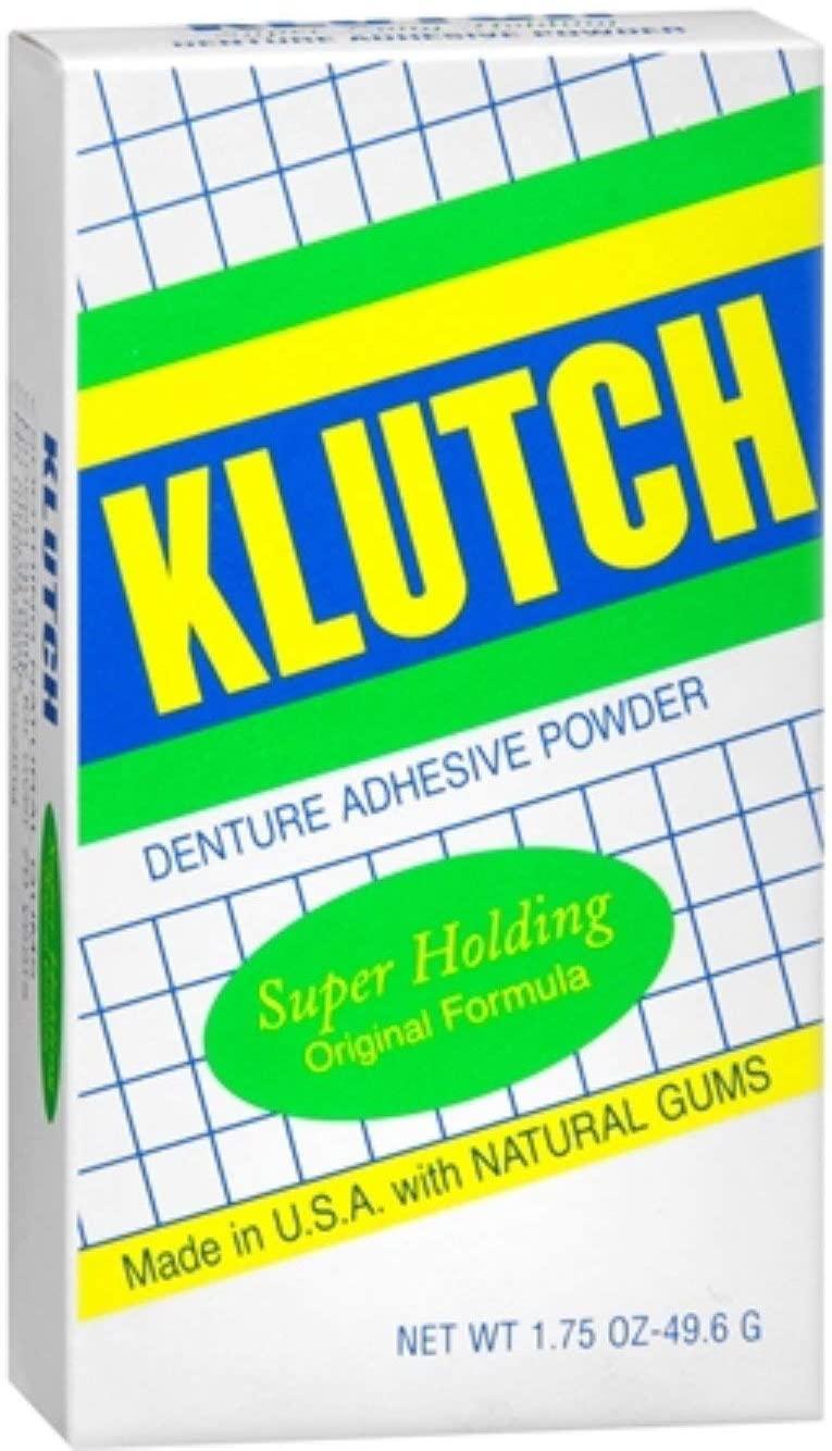 Klutch Denture Adhesive Powder Super Hold 1.75 oz (Pack of 10)