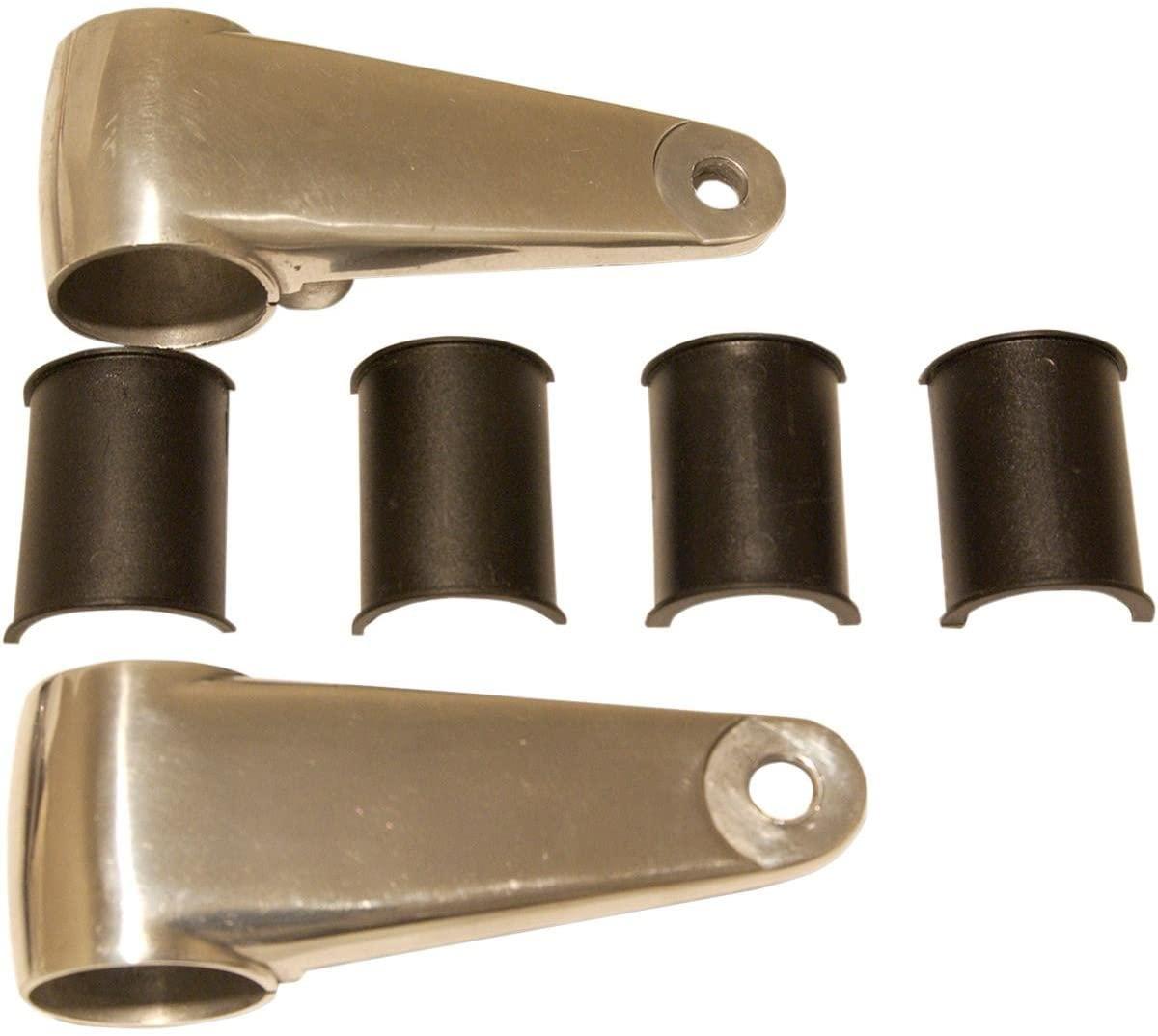 Emgo Cast Aluminum Headlamp Mounting Brackets - Polished Aluminum 66-35830