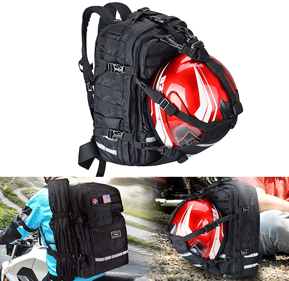 Goldfire Waterproof Large Capacity Expandable Motorcycle Cycling Helmet Backpack With Military Molle Systerm