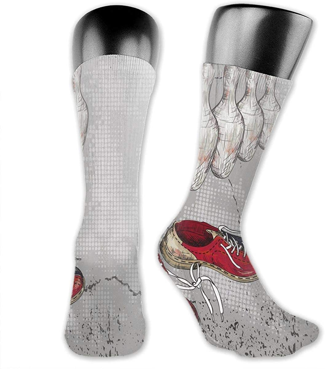Compression Socks Medium Sock, Bowling Shoes Pins And Ball In Artistic Grunge Style Print