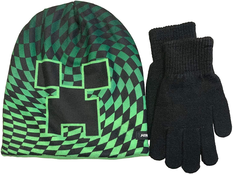 Bioworld Boys' Minecraft Creeper Beanie Hat and Gloves Set, Black, OneSize