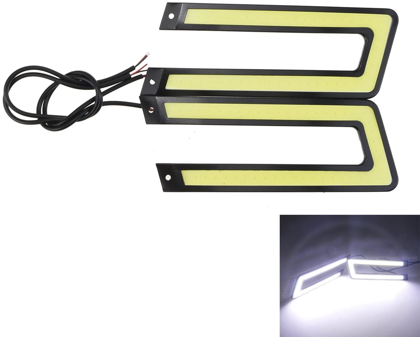 Daytime Running Lights LED 2pcs U Shape DRL Car Fog Driving COB 12V DC Slim Black Case (Cool White)