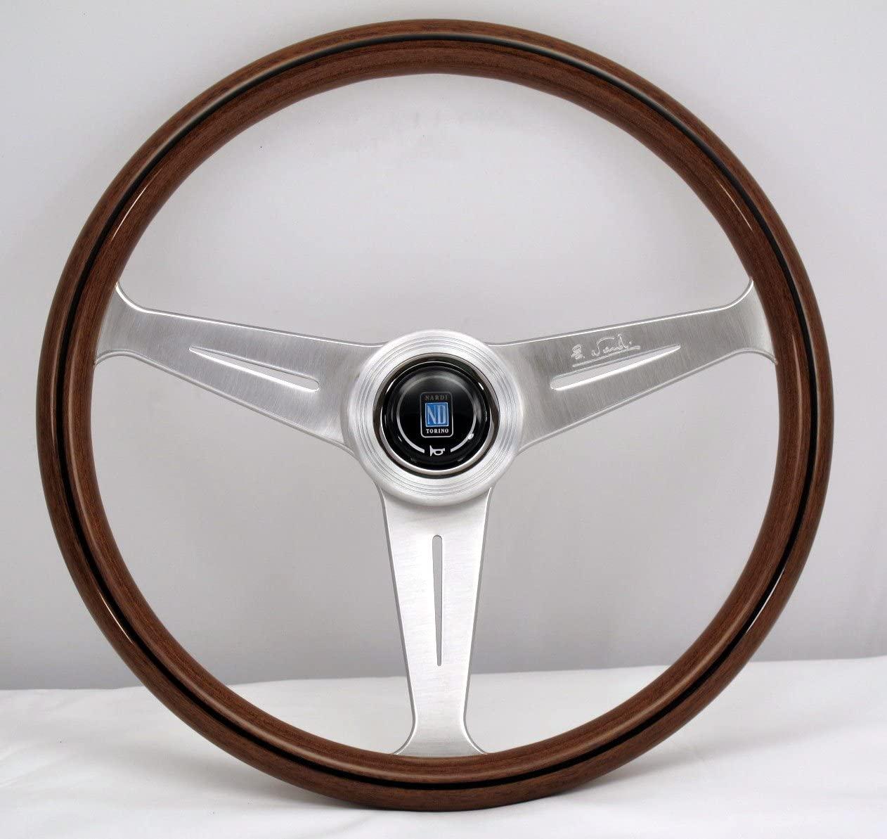 Nardi Steering Wheel - Classic - 390mm (15.35 inches) - Mahogany Wood with Satin Spokes - KBA/ABE 70065 - Part # 5051.39.6300