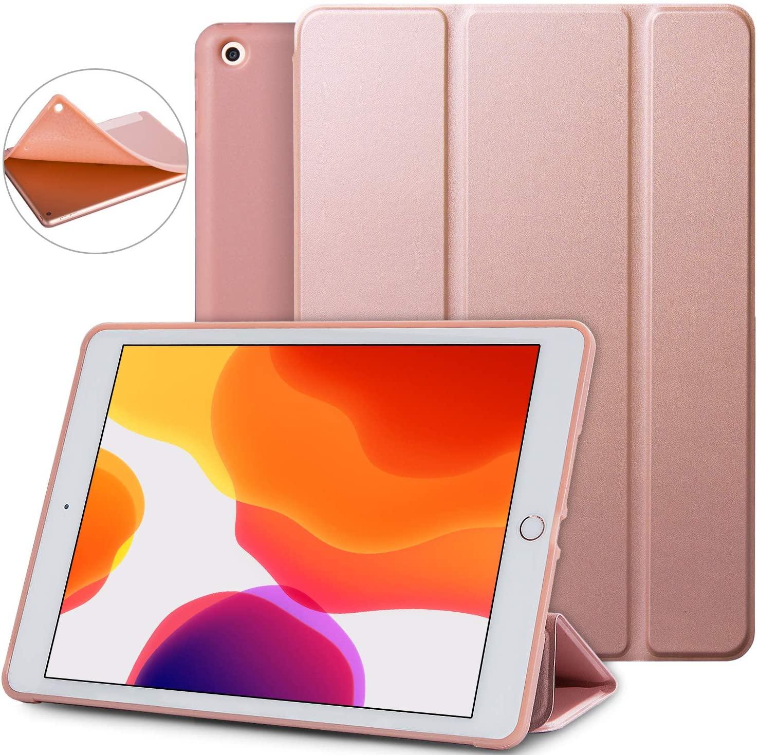 Soke iPad 7th Generation Case,New iPad 10.2 Case 2019,iPad case Lightweight Smart Cover with Soft TPU Back, Auto Sleep/Wake for iPad 7th Gen 2019(Rose Gold)
