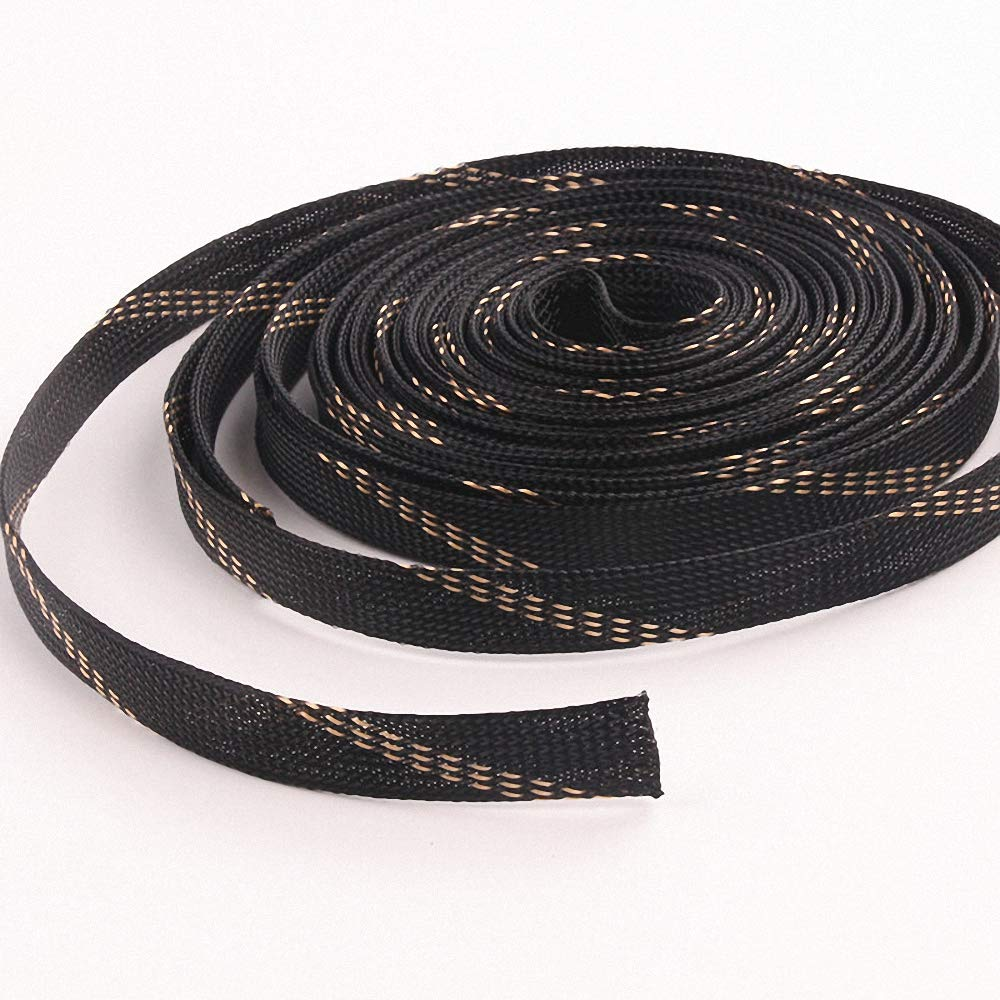 Braided Sleeving 10M 20mm Black+Gold Nylon Insulation Wire Cable Protecting PET High Density Expandable Braided Cable Sleeves