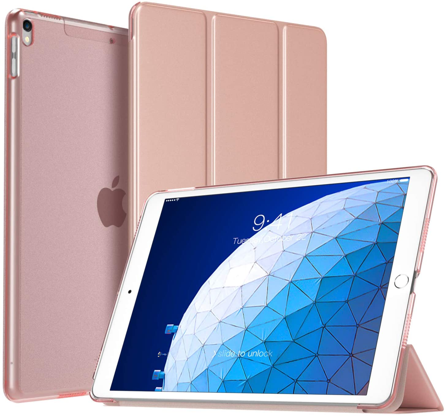 TiMOVO Cover Compatible for New iPad Air 2019 Case, Trifold Slim Shell Stand Cover Translucent Frosted Hard Back Protector with Auto Wake/Sleep Fit iPad Air 3 10.5
