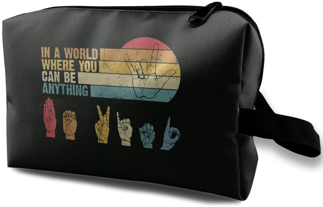 in The World Where You Can Be Anything Be Kind Sign Language Travel Kit Toiletry Bag Organizer Easy to Carry