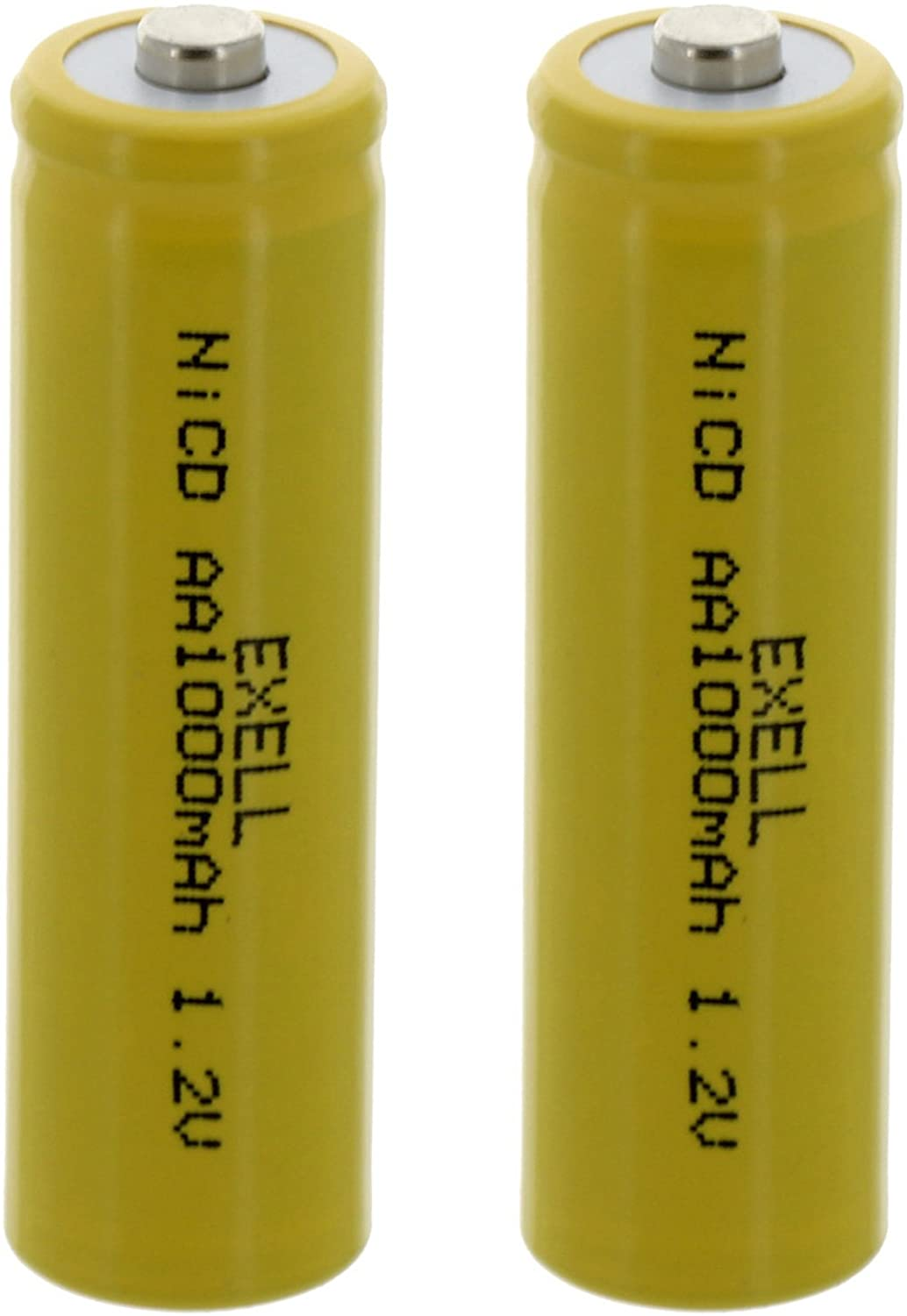 (2-PACK) Exell Nickel-Cadmium Button-Top Cell Rechargeable Battery for Solar, Outdoor, and Garden Lights (Exell AA, 1.2 Volts, 1000mAh)