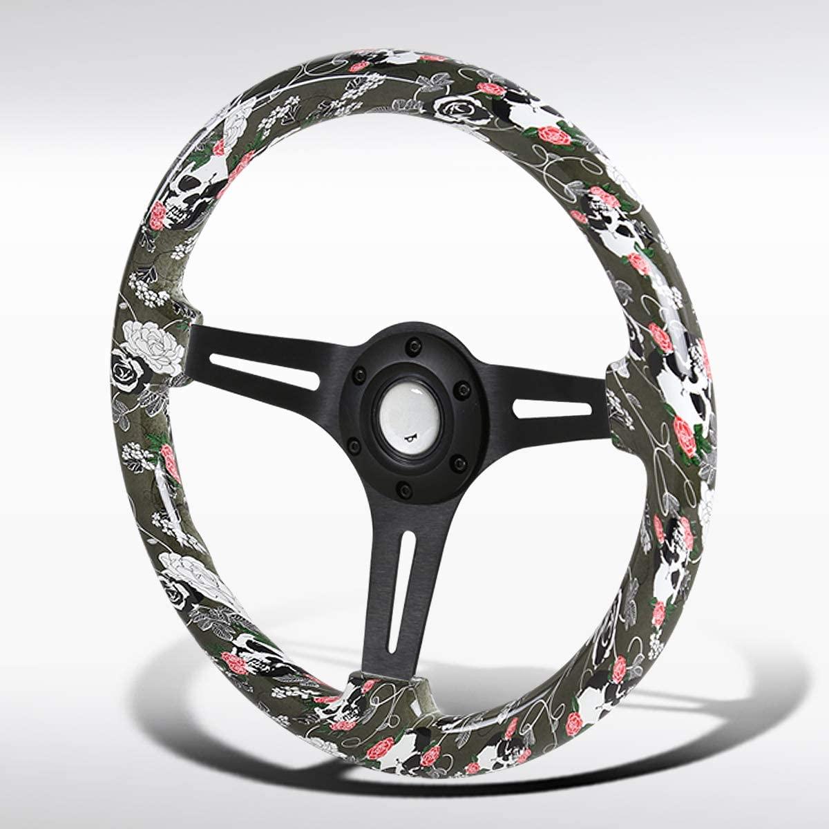 Autozensation Universal 350mm Green Skulls&Roses Black 3-Spoke Sport Wooden Steering Wheel