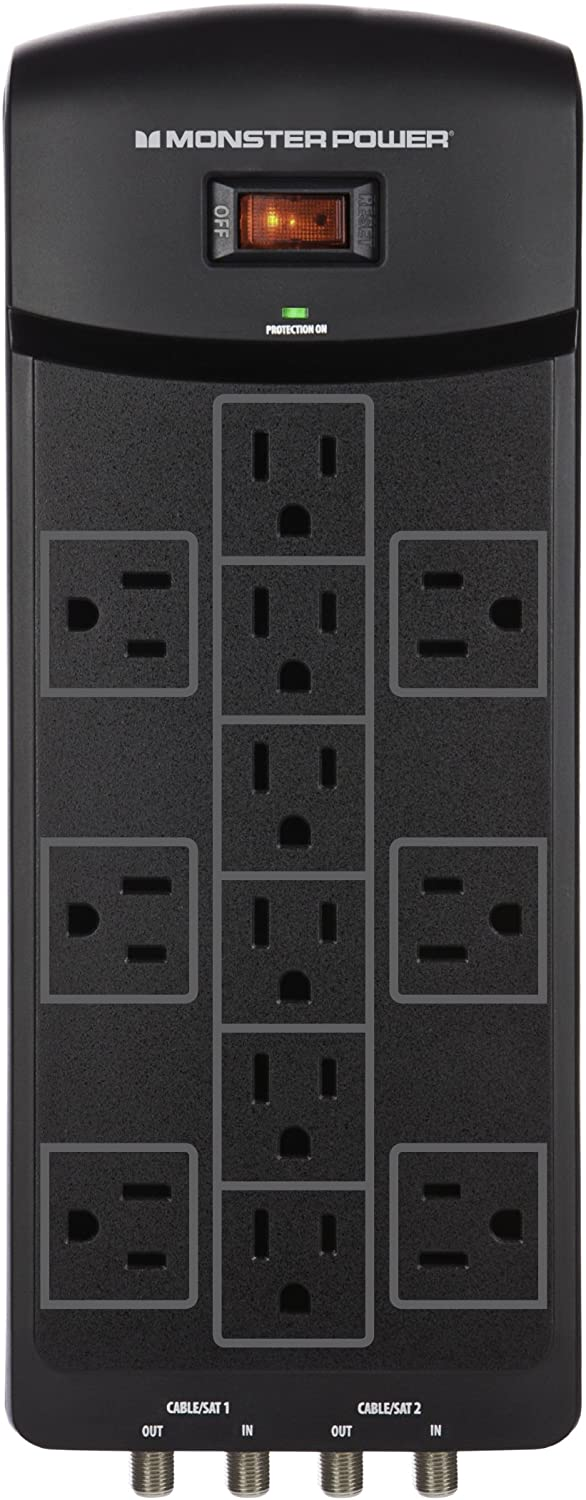 Monster 121871-00 | 12 Outlet Surge Protector with Fireproof MOV