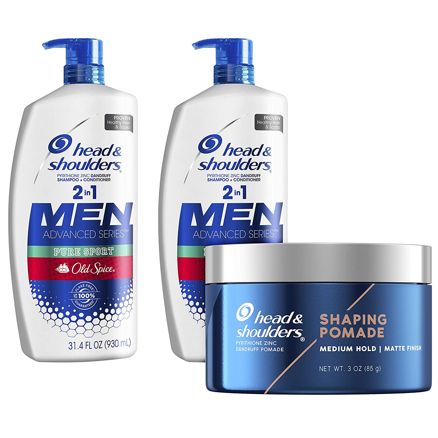 Head and Shoulders Anti Dandruff Treatment and Scalp Care 2 in 1 Shampoo and Conditioner & Pomade, Old Spice Pure Sport Bundle