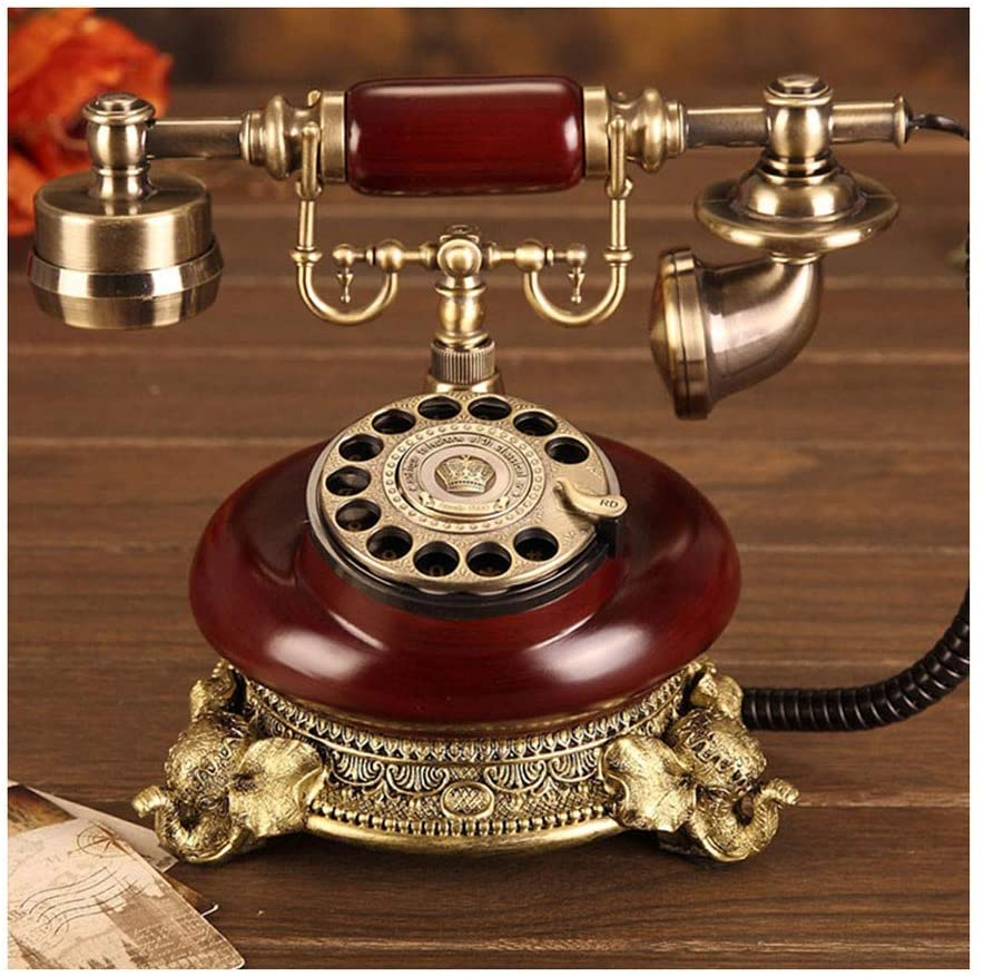 JXJJD Corded Old Fashioned Telephone, Classic Retro Design, European-Style Solid Wood and Versus Resin Wired Corded Landline Telephone Home Decor