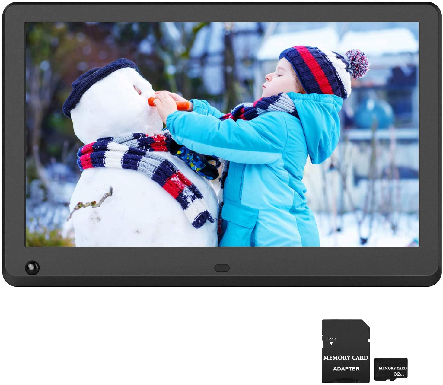 12 inch Digital Picture Frame 1920x1080 IPS Screen 16:9 Photo Auto Rotate, Motion Sensor Detection, 1080P Video Frame, Auto Turn On/Off, Auto Play, Background Music, Include 32GB SD Card