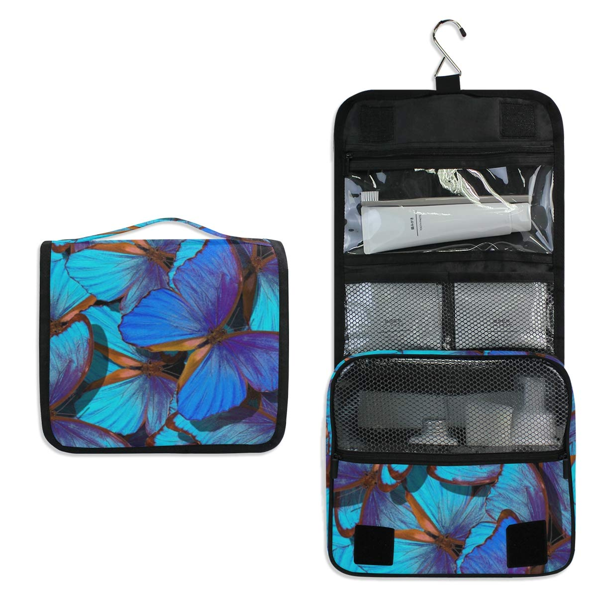 Hanging Travel Toiletry Bag - Flight Of Bright Blue Butterflies Waterproof Cosmetic Bag Portable Makeup Pouch for Toiletries Bathroom